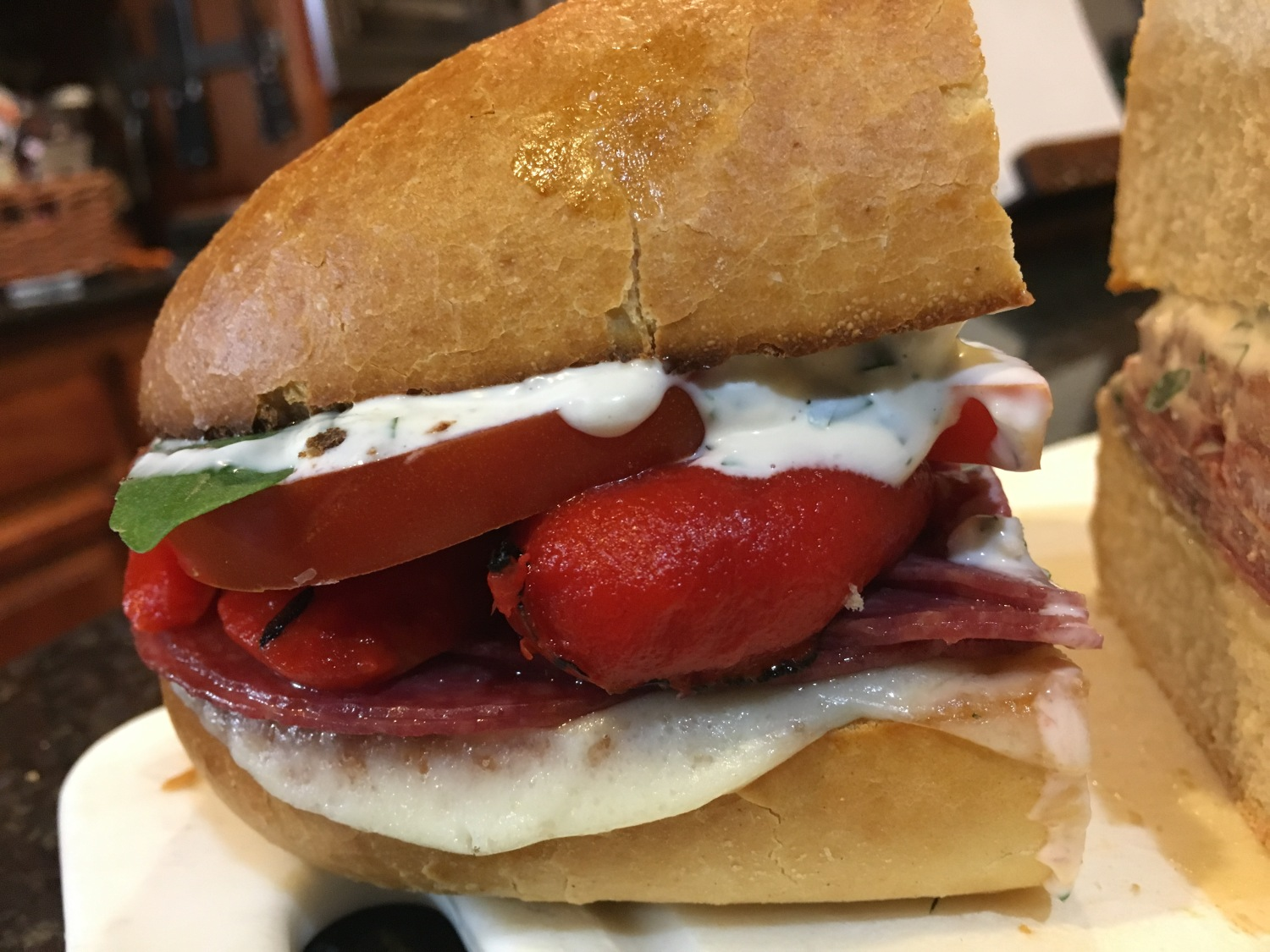 Road trip! Jen\'s Salami and Roasted Red Pepper Sandwich with ...